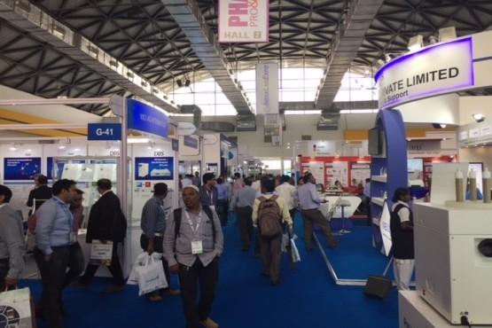 Exhibiton hall at analytica Anacon India and India Lab Expo
