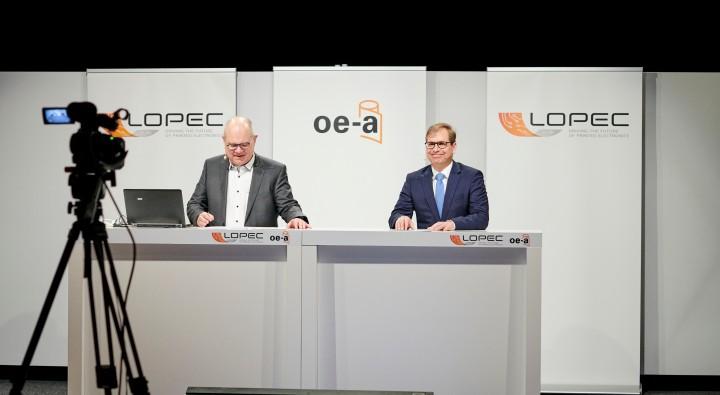 Falk Senger, Geschäftsführer Messe München und Wolfgang Mildner, General Chair der LOPEC