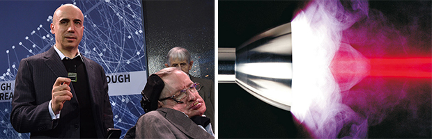 Yuri Milner and Stephen Hawking present a chip satellite for a flyby mission to Alpha Centauri that´s initiated by their Breakthrough Starshot program. / Laser-induced plasma detonation.